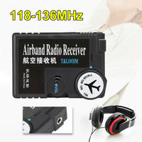 Air Band Portable Radio Receiver Airband Aviation Air Ground Receiver +Earphones