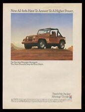 1991 Jeep Wrangler Renegade color photo vintage print ad