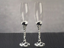 Traditional Black White Damask Wedding Gift Toasting Flute Champagne Glasses