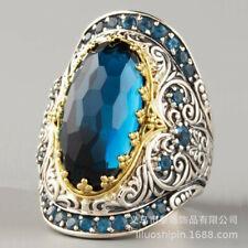 Luxurious silver Aquamarine Wedding Engagement Anniversary Jewelry Ring size 9