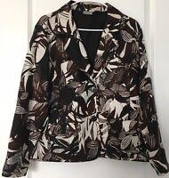 Chicos Size 2 Embroidered Silk Blazer Jacket Brown Black Cream