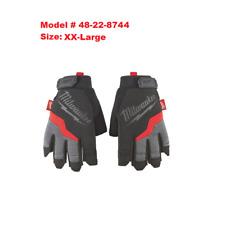 Milwaukee 48-22-8744 XX-Large Fingerless Work Gloves, W/ Terry Cloth Sweat Wipe