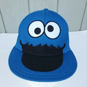 Cookie Monster Hat Blue Sesame Street Embroidered Fitted Cap Size S/M