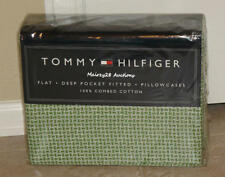 NEW Tommy Hilfiger SOMMERVILLE Green White BASKETWEAVE Geometric FULL SHEET SET