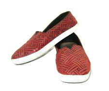 Toms Shoes Size 8 Loafers Womens Orange Black Fabric Patterned Slip On