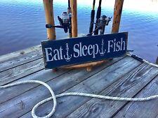 "Large Rustic Wood Sign - ""Eat Sleep Fish"" Vintage, Man, Outdoor, Fish"