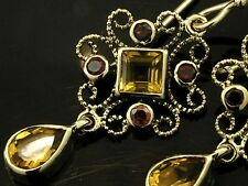 CE413- EXQUISITE Genuine 9ct SOLID Gold Natural Citrine & Garnet Drop EARRINGS