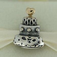Authentic Pandora 790347 Celebration Cake 14K Gold & Sterling Silver Bead Charm