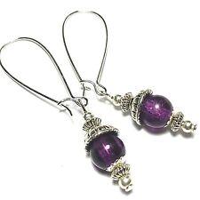 Long Wired Purple Earrings Glass Bead Drop Dangle Tibetan Silver Style UK Made