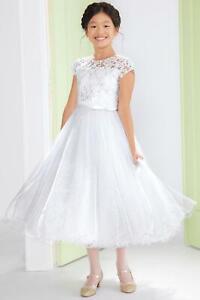 Joan Calabrese Girls Sequin Shimmer Communion Dress