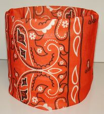 Orange Paisley Tubular Multi Function Headwear Scarf Face Mask Doo Rag Headwrap