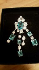 stone pin or on chain New Susan Lucci Sliver tone with teal