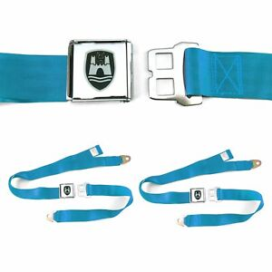 VW Volkswagen Wolfsburg Electric Blue Lap Seat Belt Buckle fits Bug Bus PAIR