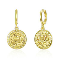 14k Yellow Gold Plated Sun Coin Drop Earrings ITALY MADE