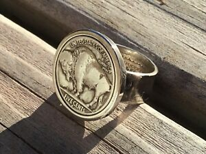 Buffalo Nickel and Silver Half Dollar Coin Ring, your size