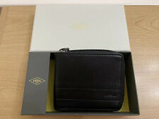 Fossil Lufkin Zip Bi Fold Leather Wallet - Black BNWT