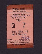 1972 Jethro Tull concert ticket stub Wolverhampton Uk Thick As A Brick Rare