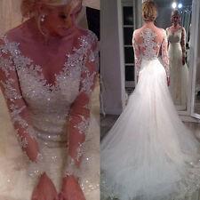 Maßgeschneidert Langarm Spitze Brautkleider Hochzeitskleid Gr:32 34 36 38 40 ++