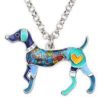 BONSNY Enamel Dog Necklace Puppy Whippet Cartoon Jewellery Pendant Women Girls