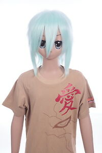 W-LD002-T5507 Green 15in Short Fringed Layered Cosplay Wig Anime Manga