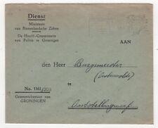 1947 NETHERLANDS Meter Mail Cover GRONINGEN Slogan CHIEF POLICE COMMISSIONER