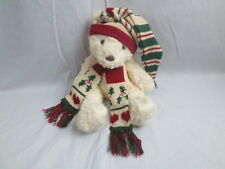 RUSS #1187 WHITE SITTING TEDDY BEAR SCHUBERT UGLY CHRISTMAS HAT SCARF PLUSH TOY