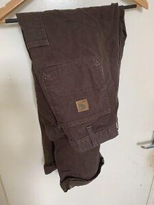 90s Vintage Mens Brown Carhartt Dungaree Carpenter Pants Trousers 38 X 32
