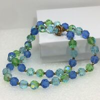 Vtg Green Blue Crystal Glass Single Strand Facet Round Bead Rhinestone Necklace
