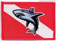 Great White Shark Diver iron-on Scuba Diving Patch diver down flag Embroidered