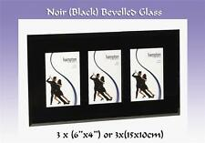 """Flat Bevelled Glass Triple Photo Frame 3x(6x4) with a 2"""". Border.(Noir N2975T46)"""