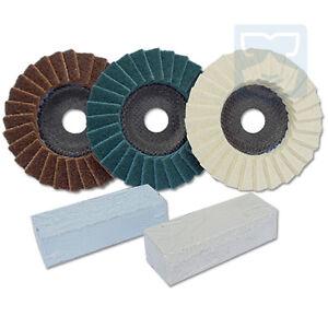 Polierpaste Polierscheiben Hochglanz für Alu Stahl Edelstahl Metall Profi Set
