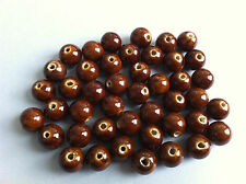 8 beads ceramic round brown jewelry creation 0 3/8in