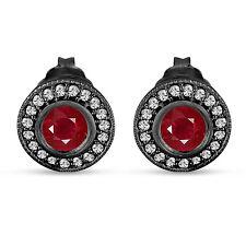 Ruby And Diamonds Stud Earrings 0.90 Carat 14k Black Gold Vintage Style