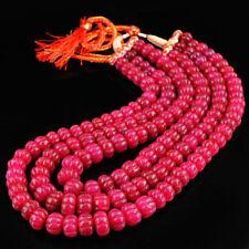 3 Rangs de perles sculptées en Rubis pour création collier/800 carats