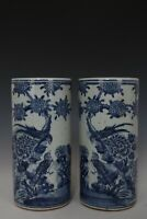 Fine Beautiful Chinese Pair Blue and White Porcelain Flower and Bird Vases