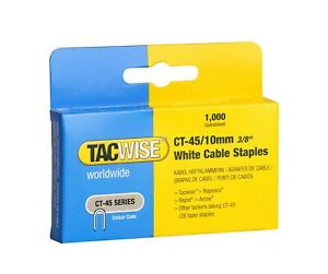 Tacwise CT-45 10mm white cable staples  Boxed in 1,000 0353