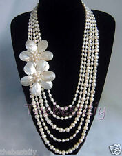 5 Row handmade Natural MOP Pearl  FW shell flower necklace  wedding