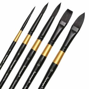 Watercolor Brushes Wash//Mop Professional Round Squirrel Hair /& Horse Hair Synthetic Blend Paint Brush Set for Art Painting Artist Quality Supplies by Mincho 4 Brushes Gouache