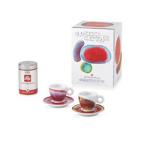 ILLY ART COLLECTION Coffee Set by Francesco Clemente - 2 Espresso + 2 Saucers
