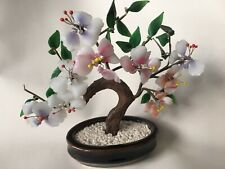 More details for large mid century vintage glass bonsai cherry blossom tree & flowers