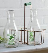 2 Milk Bottles w/ Metal Carrier Irish Hills Clover Farm Dairy New Vintage Style