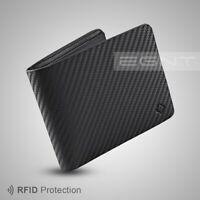 EGNT ID Carbon Wallet RFID BLACK BIFOLD GENUINE LEATHER SLIM MENS CARD HOLDER