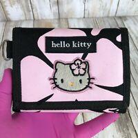 Hello Kitty Black Pink Tri-Fold Wallet Hibiscus Flower Hook & Loop Sanrio Women