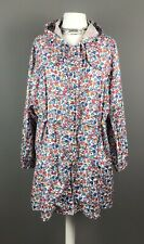 M&S Size Xl 20 22 Ladies Rain Coat Mac Jacket Blue Red Multi Ditsy Floral Hood