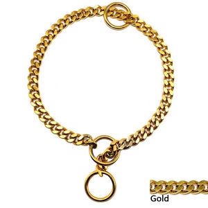 Gold Choke Dog Chain Collars Chrome Metal Slip Show Collar Necklace M L XL XXL