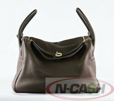 SOLD*Authentic $8250 Hermes Lindy 34 in Cacao Clemence Leather K Stamp Palladium
