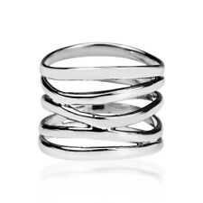 Punk Wide Five Band Coil Wrap 925 Silver Ring Wedding Engagement Jewelry Gifts