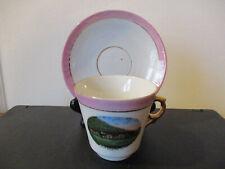 Circa 1915 Souvenir Cup Saucer Bear Mountain Inn Hudson River Valley New York *