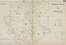 Provincia Foggia:Tutti i Comuni nel 1938,Carta Topografica.Anno XVI Era Fascista