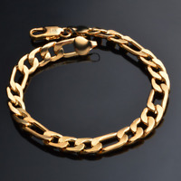 Men Women Gold Plated 18K Rings Bangle Chain Bracelet Stainless Steel Jewelry